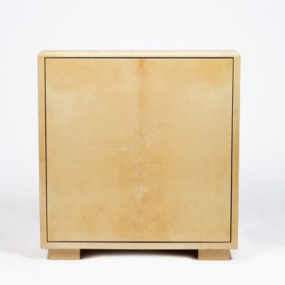 Minimalist Aldo Tura bar cabinet wrapped in blond parchment