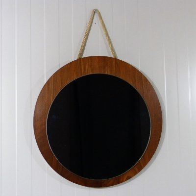 Teak mirror with rope wall fastening, 1960's