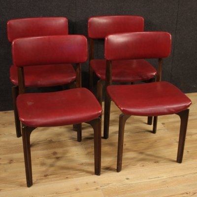 Set of 4 Red Faux Leather & Beech Wood Chairs, Italy 1970s
