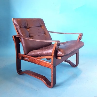 Danish mid century safari chair in rosewood & leather, 1960s