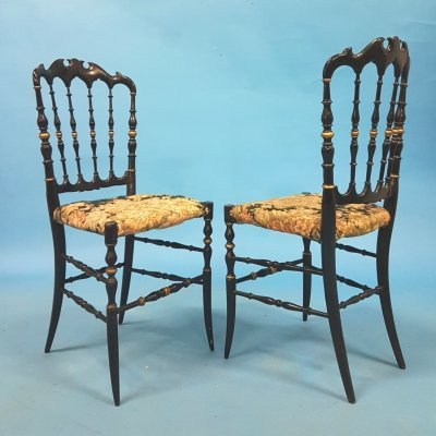 Set of 2 decorative Chiavari side chairs, Italy 1950s
