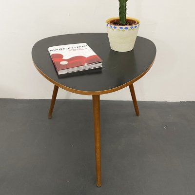 Triangular Mid Century Side Table with black top, 1950s