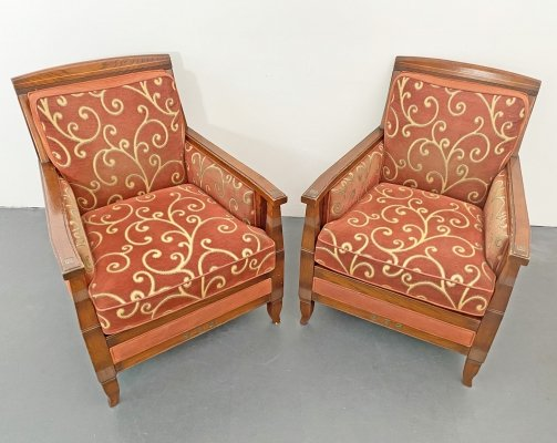 Pair of Vienna Secession Art Nouveau Club Lounge Chairs, 1920s