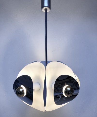 Appealing large hanging lamp by Brevettato with 5 lights, Italy 1970's