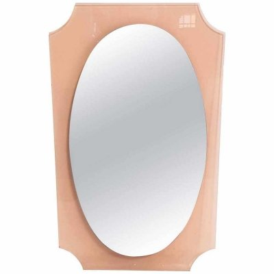 Italian 1960s Lucite Oval Wall Mirror