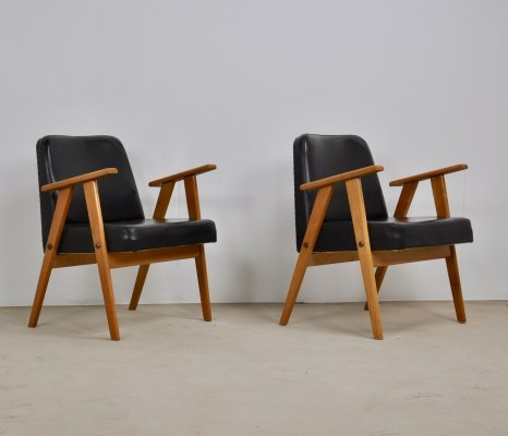 Pair of Model 366 Easy Chairs by Jozef Chierowski, 1960s
