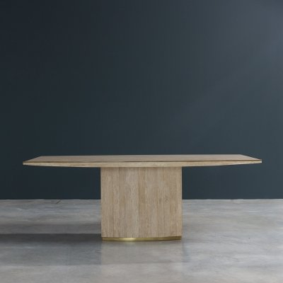 Travertine & brass dining table by Jean Charles, 1970s