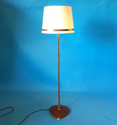 Danish design teak & brass floor lamp, 1960s
