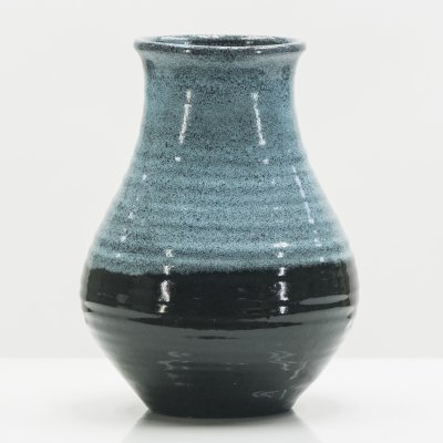 Mid Century French Accolay Pottery turquoise ceramic vase, 1960s