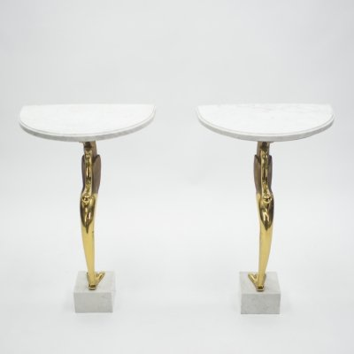 Unique Mid-century Roger Thibier Pair of brass & marble console tables, 1970s