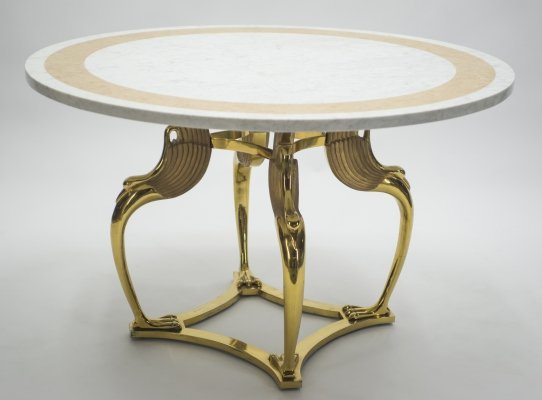 Unique Mid-century Roger Thibier brass & marble dining table, 1970s
