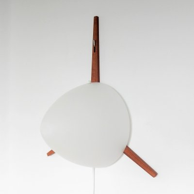 Highly rare C-1575 teak & opaline glass wall lamp by Eje Ahlgren for Raak, 1957