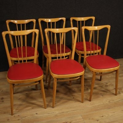 Set of 6 Red Faux Leather & Exotic Wood Italian design Chairs, 1960