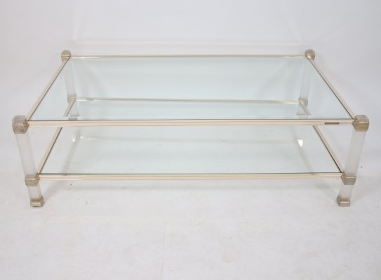 Pierre Vandel Paris Coffee table with gold corners