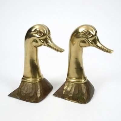 Set of 2 brass book ends, 1960s