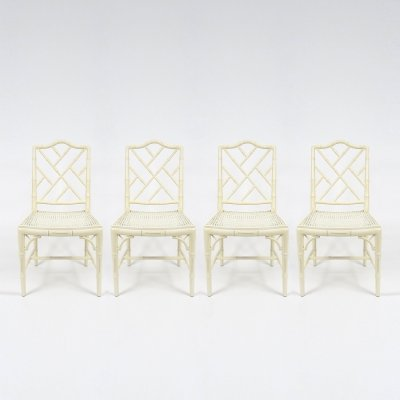 Set of 4 faux bamboo chairs, 1970s