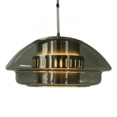 Glass Hanging Lamp with Aluminum Inside by Dijkstra Lampen, 1970s