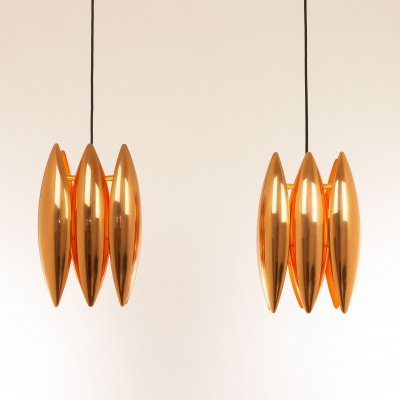 Pair of copper Kastor pendants by Jo Hammerborg for Fog & Mørup