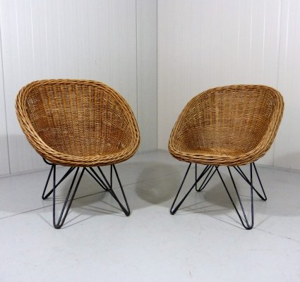 Set of 2 Rattan Children Chairs with Hairpin Legs, 1950's