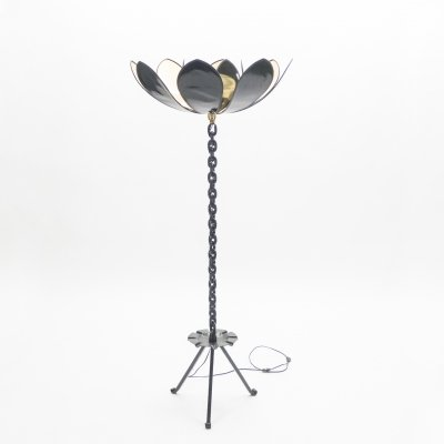Signed Jacques Vidal French Mid Century Iron gold floor lamp, 1967