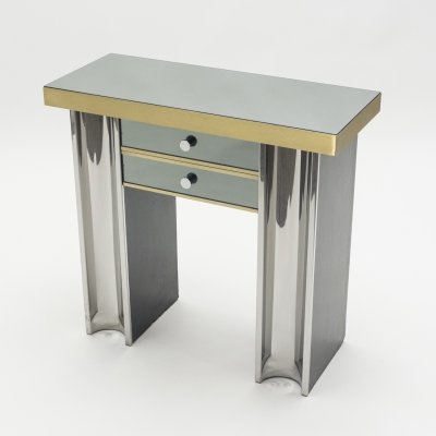 Small Hollywood Regency mirrored & brass French console table, 1970s