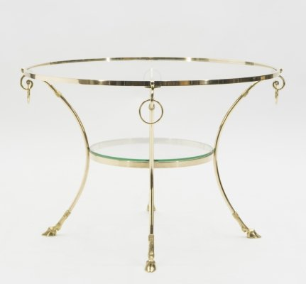Large French Neoclassical Maison Charles brass gueridon side table, 1970s
