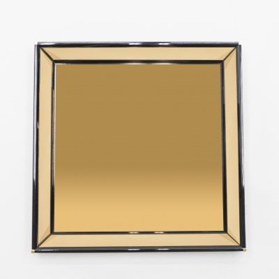 Italian Mirror by Sandro Petti black lacquered brass, 1970s