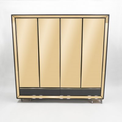 Large Italian Sandro Petti black lacquered & brass mirrored wardrobe cabinet, 1970s