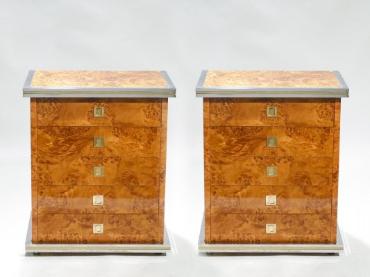 Italian Pair of Willy Rizzo burl brass & chrome chest of drawers, 1970s