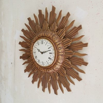 Giltwood Sunburst Wall Clock from Stijlklokkenfabriek C.J.H. Sens en Zn., 1960s