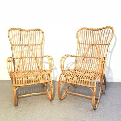 Pair of armchairs in rattan made by Rohé Noordwolde, 1960s