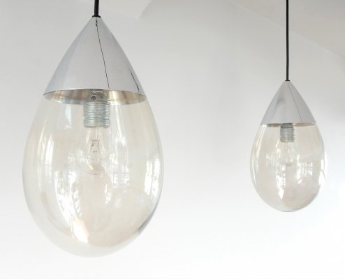 Set of 2 metal & glass teardrop shape pendant lamps by Limburg, 1970s