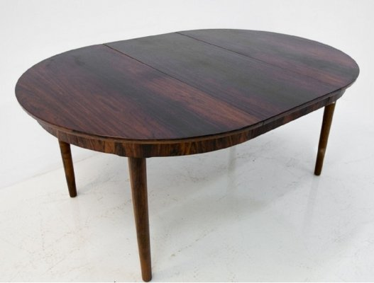 Round Danish Design Folding Dining Table in Rosewood, 1960s