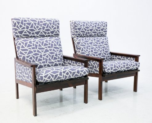 Pair of Rosewood ladder back blue armchairs, 1960s