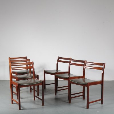 Set of 6 rosewood dining chairs, 1960s