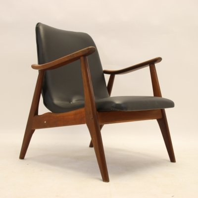 Black Skai leather lounge chair by Louis van Teeffelen for Wébé, 1960s