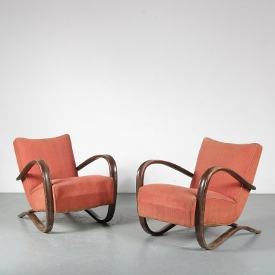 Pair of Jindrich Halabala 'H-269' Chairs for UP Závody, Czechia 1930s