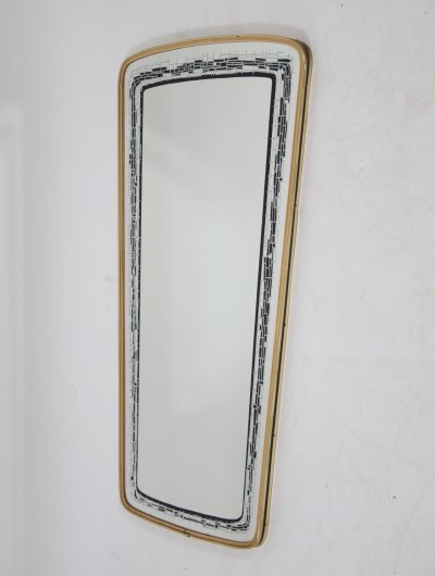 Vintage Wall Mirror with black & grey decorated edge, 1960s