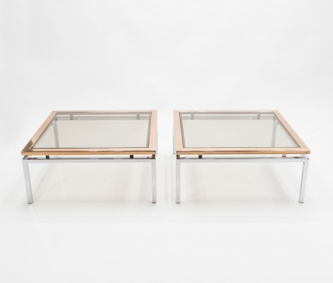 Pair of square chrome & copper coffee tables by Guy Lefevre for Maison Jansen