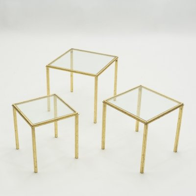 Mid-century Roger Thibier gilt wrought iron gold leaf nesting tables, 1960s