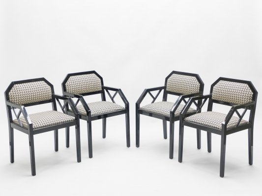 Rare set of 4 Hollywood Regency black lacquer chairs J.C. Mahey, 1970s