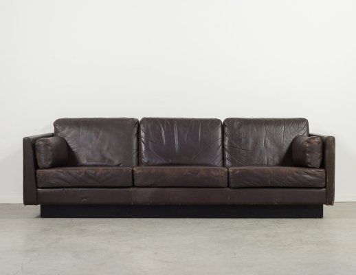 Danish design brown leather three seats sofa from 'Thams', 1970's