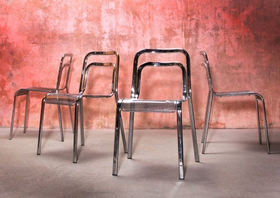 Set of Four Vintage Italian Perforated Chrome Stackable Dining Chairs