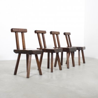 Brutalist Solid wooden Chairs by Mobichalet, Belgium