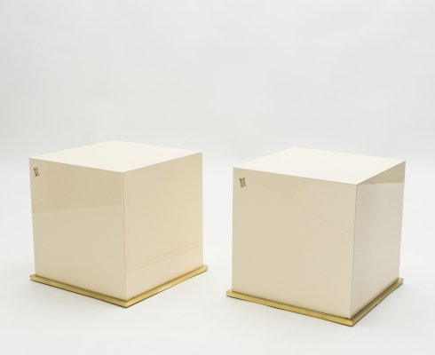 J.C. Mahey lacquer & brass cube end tables, 1970s