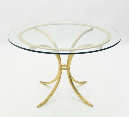 French Mid-century Roger Thibier gilt wrought iron gold leaf glass dining table, 1960s