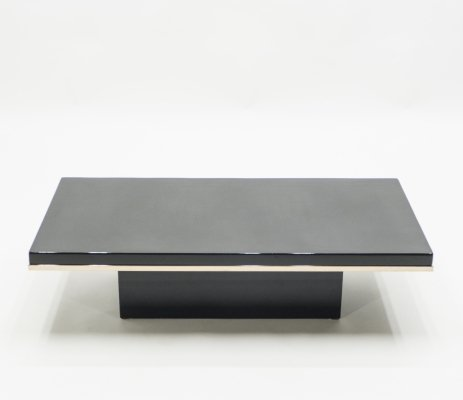J.C. Mahey black lacquer & brass coffee table, 1970s