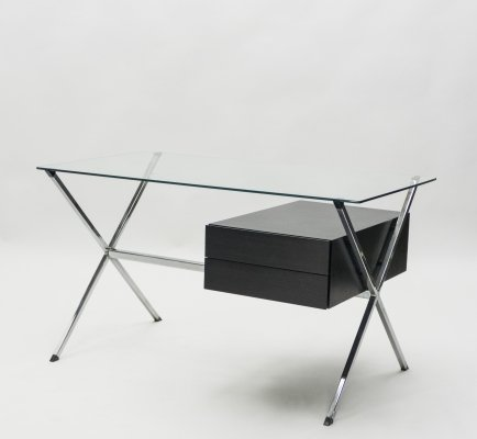 Franco Albini glass wood & chrome desk for Knoll International, 1950