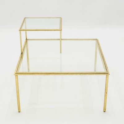 Roger Thibier gilt wrought iron & glass coffee end table, 1960s