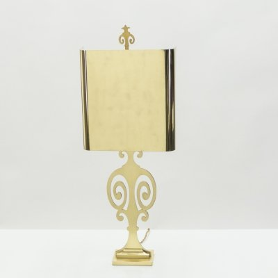 French neoclassical Maison Charles brass lamp, 1970s